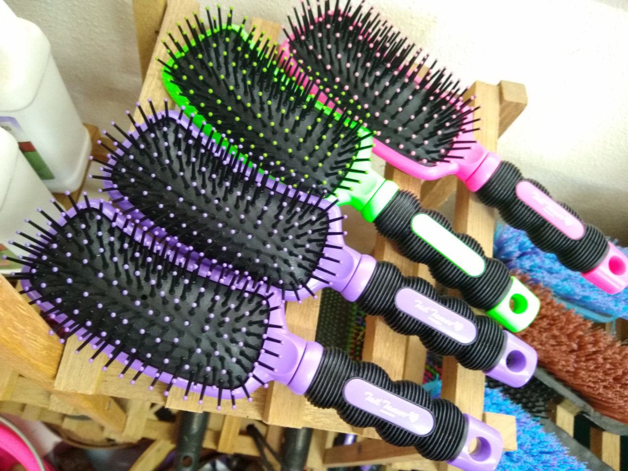 Colorful horse brushes
